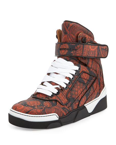Givenchy Tyson Paisley-Printed High-Top Sneaker, Black/Orange