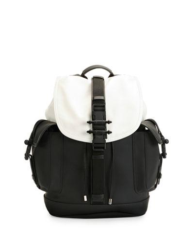 Obsedia Leather Flap Backpack, Black/White