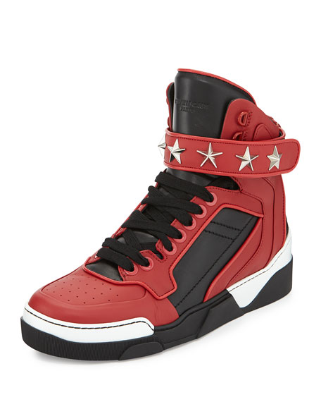 Givenchy Tyson Star High-Top Sneaker, Black/Red