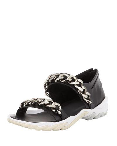 Palladio Men's Leather Chain-Strap Sandal, Black