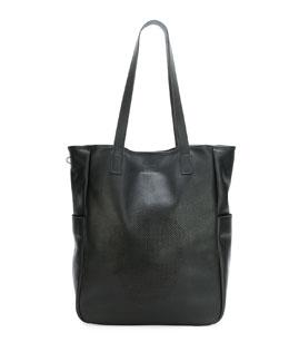 Men's Perforated Skull Tote Bag, Black