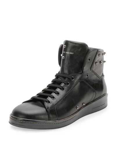 Elgar Studded High-Top Sneaker, Black