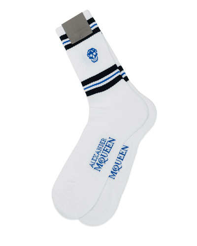 Skull Knit Sport Socks, Blue/White