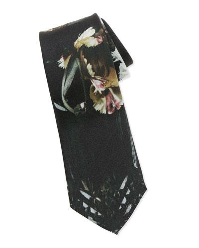 Floral-Print Silk Tie, Black/Multi
