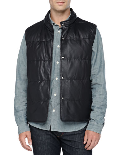 Neiman Marcus Quilted Reversible Vest, Navy/Brown