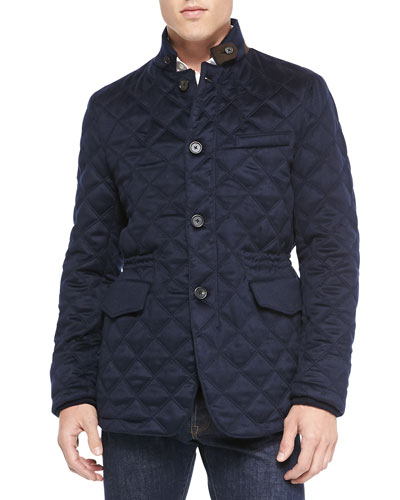 Neiman Marcus Cashmere Diamond-Quilted Field Jacket, Navy