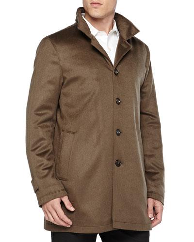 Neiman Marcus Solferino Cashmere Coat, Dark Green