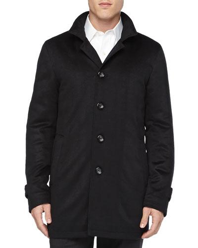 Neiman Marcus Solferino Cashmere Coat, Black