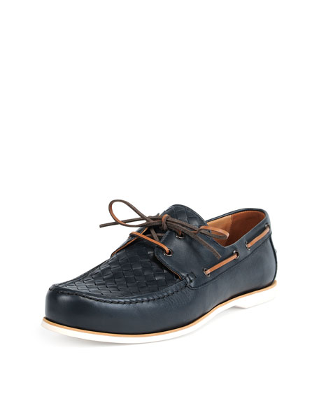 Bottega Veneta Woven Leather Boat Shoe, Navy