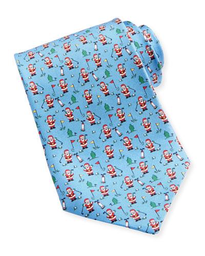 Salvatore Ferragamo Golfing Santa Tie, Blue