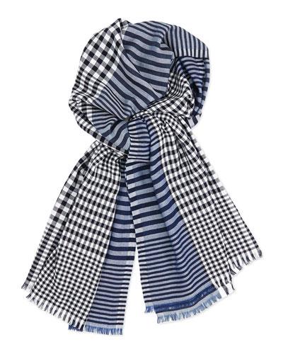 Salvatore Ferragamo Men's Stripe/Check Wool-Blend Scarf, Navy