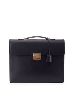 Single-Gusset Leather Briefcase, Blue