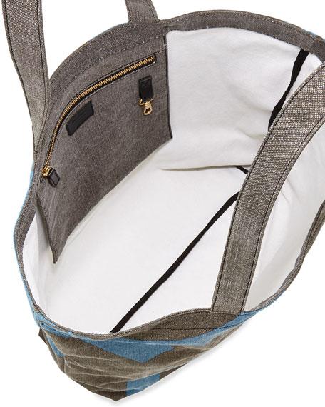 19ff5156ee8 Salvatore Ferragamo Mustique Canvas Beach Bag, Gray