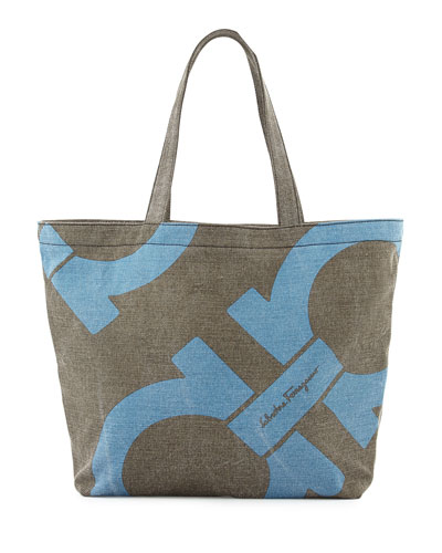 Salvatore Ferragamo Mustique Canvas Beach Bag, Gray