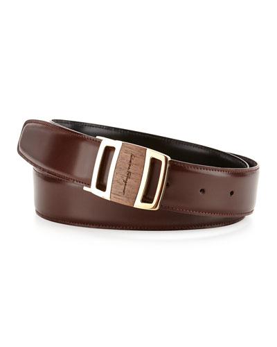 Reversible Sardegna Leather Belt, Brown/Black