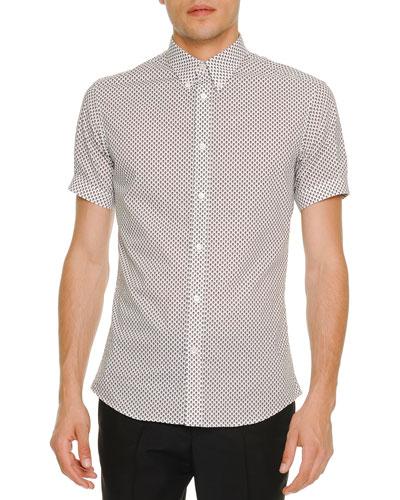 Mini-Skull Short-Sleeve Poplin Shirt, Black/White