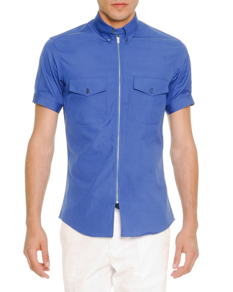 Alexander McQueen Zip-Placket Short-Sleeve Poplin Shirt