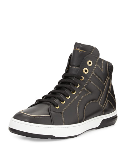 Nicky Stitched Gancini High-Top Sneaker