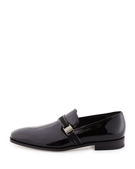 Patent Leather Loafer with Side Vara, Black