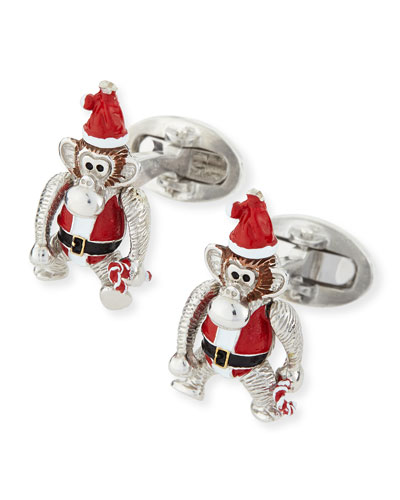 Santa Monkey Cuff Links