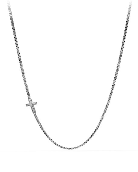 Pave Cross Necklace with Black Diamonds