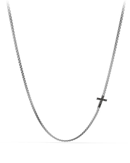 David Yurman Pave Cross Necklace with Black Diamonds