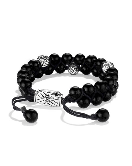 David Yurman Spiritual Beads Two-Row Bracelet with Black