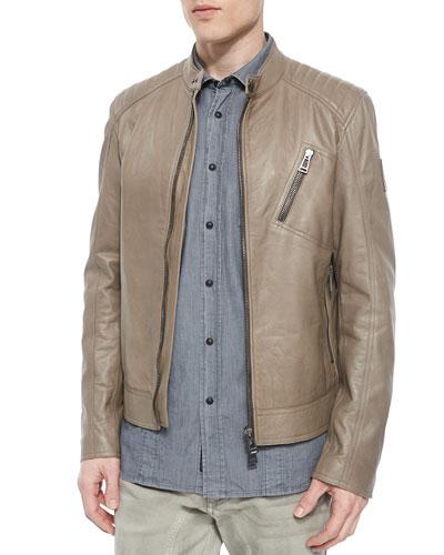 K Racer Leather Jacket, Mushroom