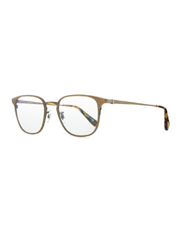 Oliver Peoples Pressman Square Titanium Fashion Glasses, Aged Gold