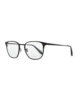 Oliver Peoples Pressman Square Titanium Fashion Glasses, Matte Black