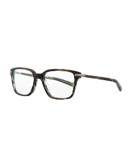 Oliver Peoples Men's Stone Rectangle Fashion Glasses, Matte Ebonywood