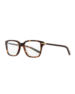 Oliver Peoples Men's Stone Rectangle Fashion Glasses, Matte Sable Tortoise