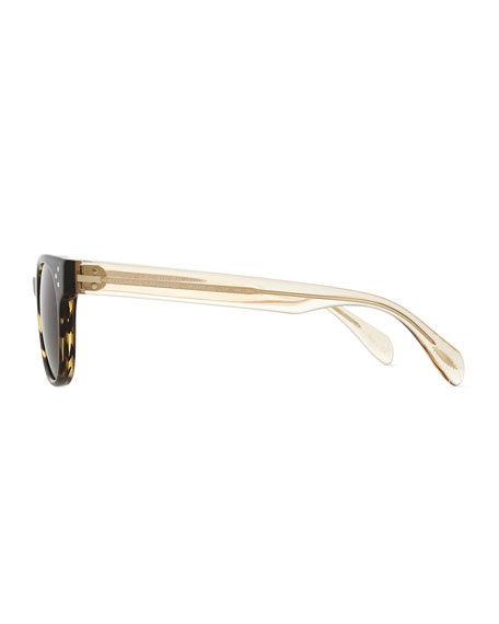 Afton Round Two-Tone Sunglasses, Coco