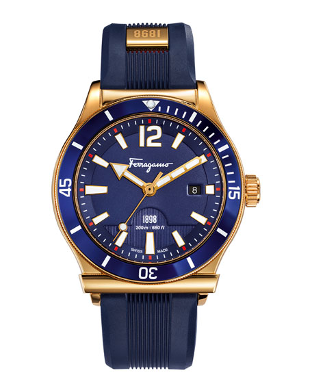 Salvatore Ferragamo 1898 Rubber-Strap Sport Watch, Blue