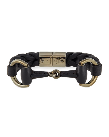 Gucci Leather Bracelet with Horsebit Detail, Black