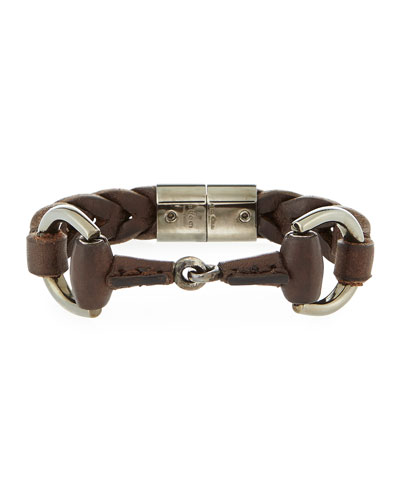 Men's Leather Horsebit Bracelet, Brown