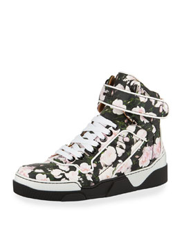 Givenchy Rose-Print Leather High-Top Sneaker