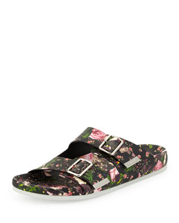 Givenchy Floral Double-Strap Footbed Sandal, Rose