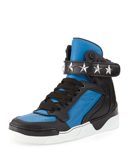 Givenchy Tyson Stars High-Top Sneaker, Blue/Black
