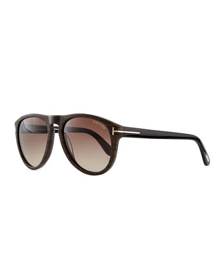 TOM FORD Kurt Acetate Aviator Sunglasses, Brown
