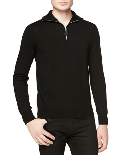 Half-Zip Sweater w/ Check Elbow Patches
