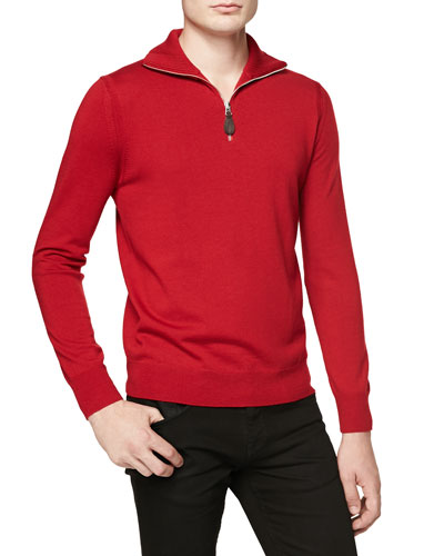 Quarter-Zip Check-Patch Sweater, Red