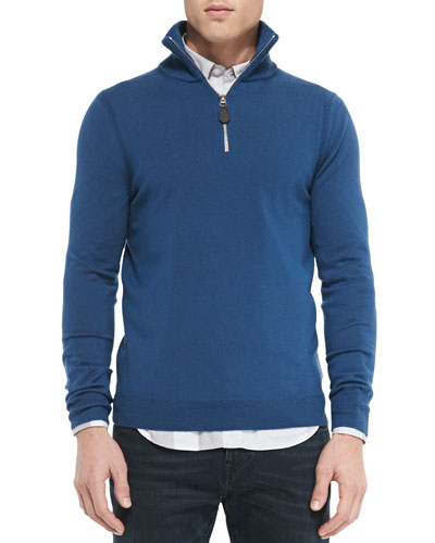 Half-Zip Sweater w/Check Elbow Patches