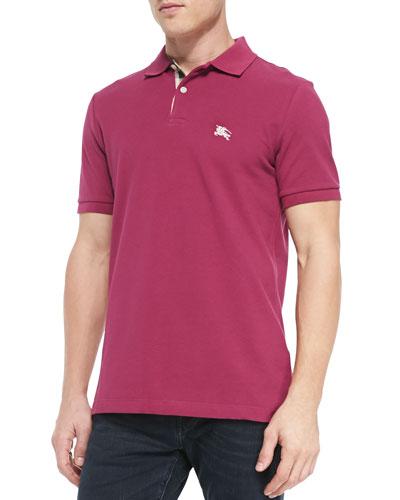 Pique Short-Sleeve Polo Shirt, Raspberry