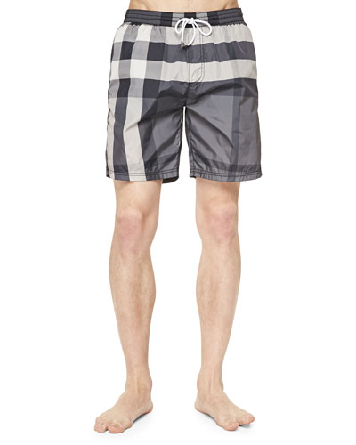 Check-Print Swim Trunks, Gray