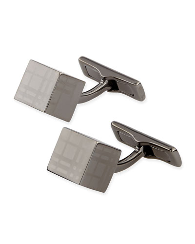 Cube Check Cuff Links, Dark Nickel