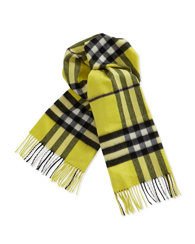 Burberry Cashmere Giant Icon Scarf, Yellow
