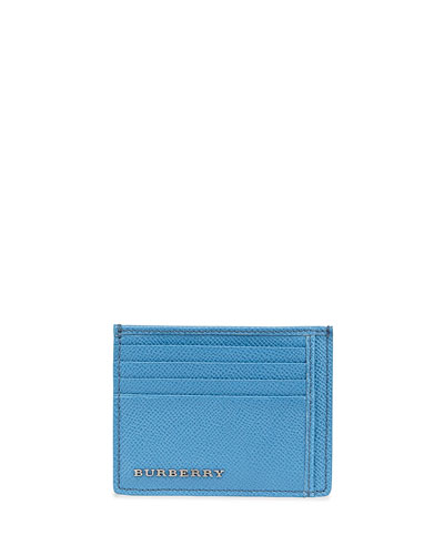 Burberry Pebbled Leather Card Case, Blue