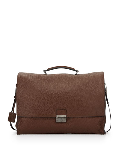 Leather Satchel Briefcase, Brown
