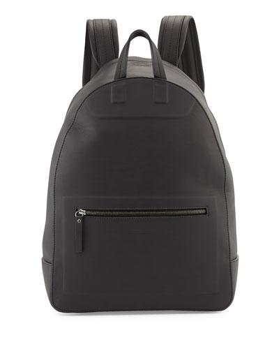 Matte Leather Backpack, Black